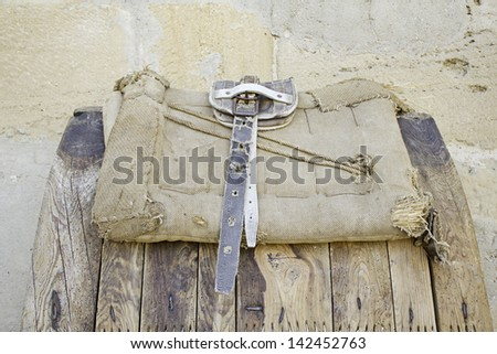 Seat belt leather horse ancient objects and tools - stock photo