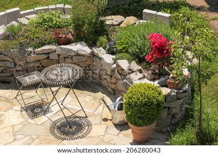 Seat place, landscape gardening - stock photo