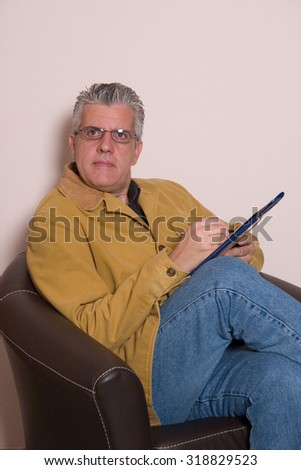 seated and working - stock photo