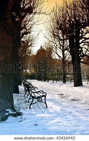 Seats in the Vienna nation garden in the portrait format - stock photo