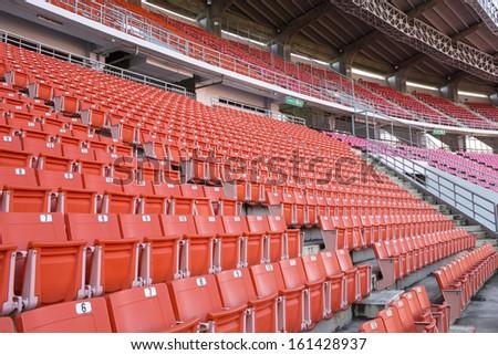 Seats red at stadium - stock photo