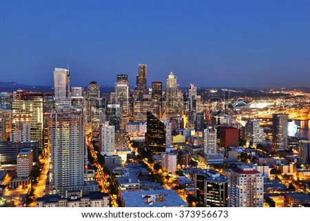 Seattle Aerial Skyline at Dusk - stock photo