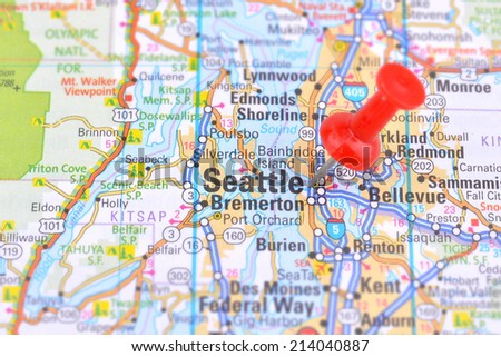 Seattle and Map - stock photo
