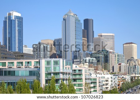 Seattle architecture and skyscrapers near the waterfront, WA. - stock photo