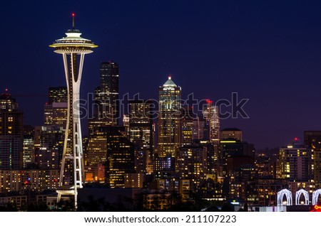 Seattle at Night - stock photo