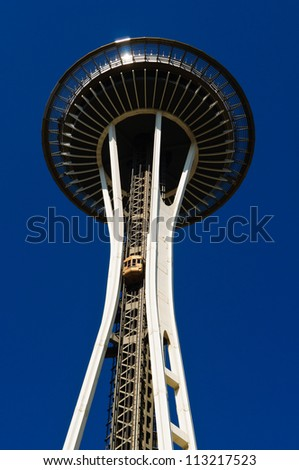 SEATTLE - AUGUST 20 : Seattle Space Needle on August 20, 2011 in Seattle. The Space Needle was built for the 1962 World's Fair. - stock photo