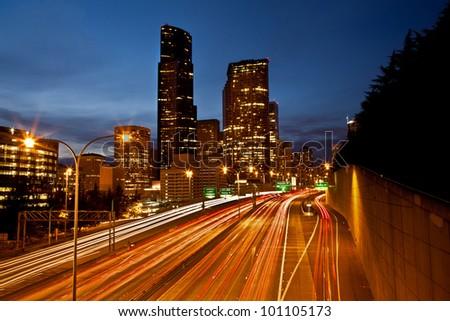 Seattle City at dusk. - stock photo
