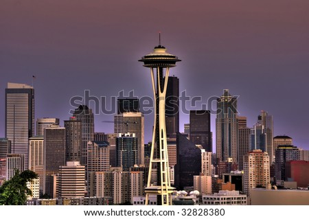 seattle city skyline with downtown buildings at dusk - stock photo