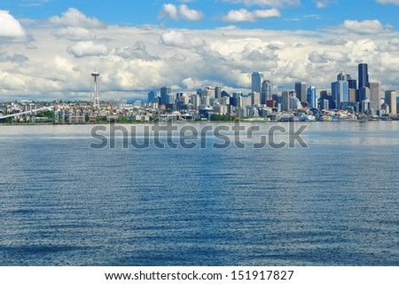 Seattle city skyline with ocean in the foreground - stock photo