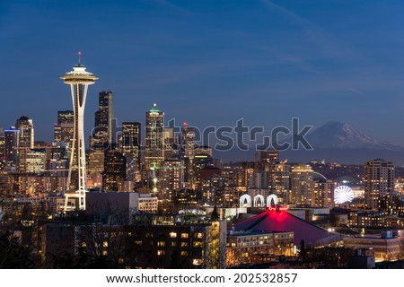 Seattle city view at night - stock photo