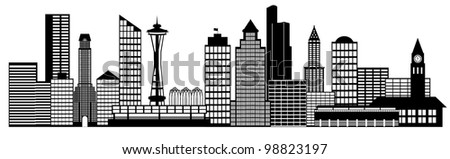 Seattle Skyline Drawing Seattle City Washington