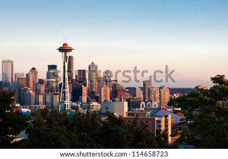 Seattle Downtown from Kerry Park viewpoint - stock photo
