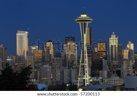 Seattle downtown skyline at night - stock photo