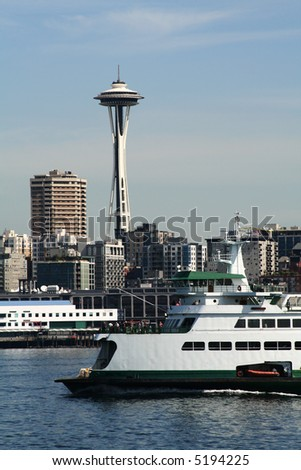 Seattle ferry with space needle - stock photo