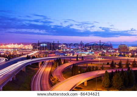 Seattle freeways with colorful - stock photo