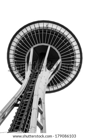 SEATTLE - JULY 22: A view from below the Space Needle in Seattle, Washington, on July 22, 2010. The 605 ft structure was built for the 1962 World's Fair held in that city. - stock photo