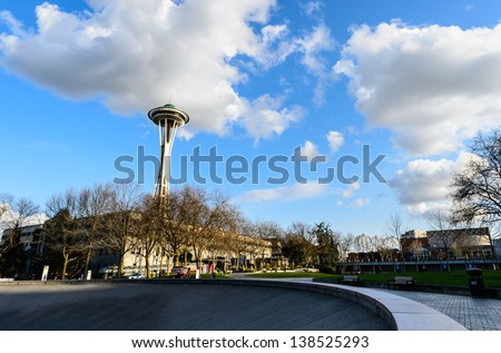 SEATTLE - MARCH 21, : Space Needle in Seattle on March 21, 2013 in Seattle, USA. It is located at Seattle center. - stock photo