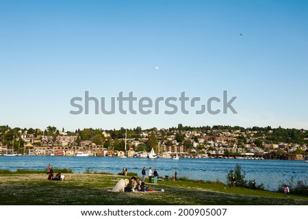 SEATTLE - MAY 11: Gas Works Park overlooks Lake Union and a large portion of Seattle, including the Eastlake neighborhood on May 11, 2014. - stock photo