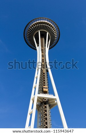 SEATTLE - OCT 06 : Seattle Space Needle on Oct 06, 2012 in Seattle. The Space Needle was built for the 1962 World's Fair. 2.3 million people visit the Space Needle every year. - stock photo