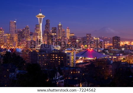 Seattle Postcard - easily recognizable Seattle skyline with Space Needle and Mount Rainier on the background - stock photo