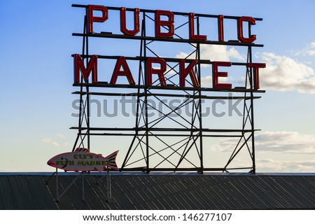 Seattle Public Market Center Sign, Pike Place Market, Seattle WA, USA - stock photo