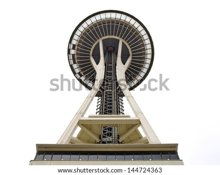 SEATTLE - SEPTEMBER 6: Space Needle in Seattle on September 6, 2011 in Seattle, USA. The Space Needle was built in 1962 and is a symbol of that year's World's Fair. - stock photo