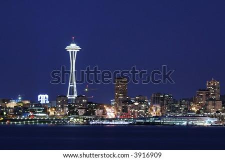 Seattle skyline at twilight - stock photo