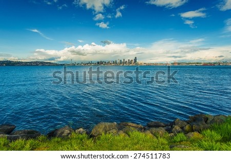 Seattle Skyline Panorama and Puget Sound. Seattle, Washington, United States. - stock photo