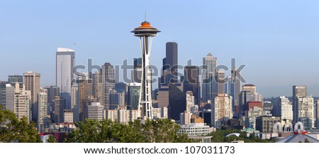 Seattle skyline panorama at sunset. - stock photo