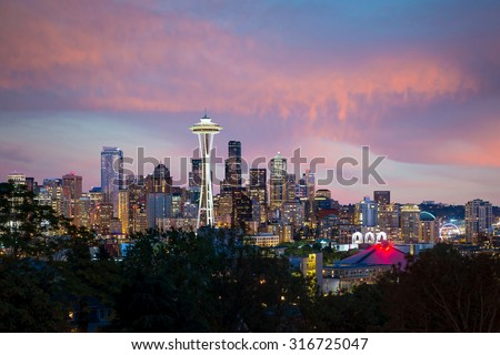 Seattle skyline panorama at sunset as seen from Kerry Park, Seattle USA - stock photo