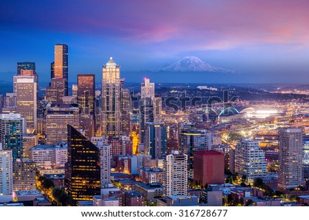 Seattle skyline panorama at sunset as seen from Space Needle Tower, Seattle USA - stock photo