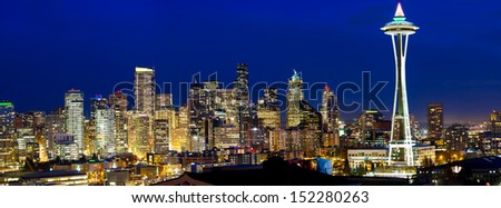 Seattle skyline panorama at twilight, WA, USA - stock photo
