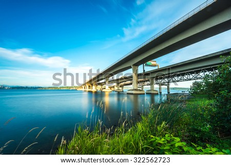Seattle skylines and Interstate freeways background of in sunset time, Seattle, Washington State, USA.  - stock photo