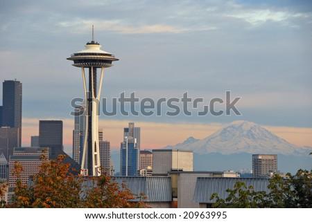 Seattle space needle and Mount Rainier - stock photo