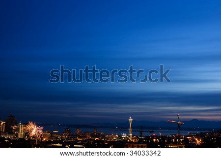 Seattle Space Needle and skyline - stock photo