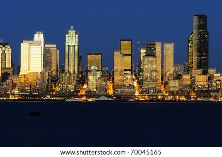 Seattle Sun Settles - stock photo