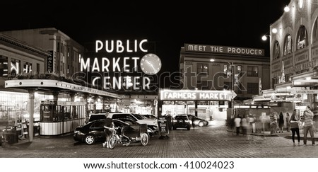 SEATTLE, WA - AUG 14: Public Market Center in downtown on August 14, 2015 in Seattle. Seattle is the largest city in both the State of Washington and the Pacific Northwest region of North America - stock photo
