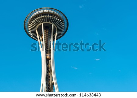 SEATTLE, WA - JULY 8: Elevators going up on the Space Needle in Seattle, Washington on July 8, 2012. Built for the 1962 World's Fair, 2.3 million people visit the Space Needle each year. - stock photo