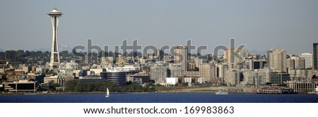 SEATTLE, WASH., USA - CIRCA JULY 2010 - The skyline of Seattle, Wash., looks best when viewed from Puget Sound. - stock photo