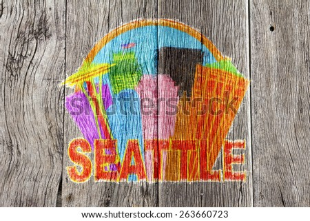 Seattle Washington Abstract Downtown City Skyline in Circle Isolated on White Background Impressionist Wood Background Illustration - stock photo