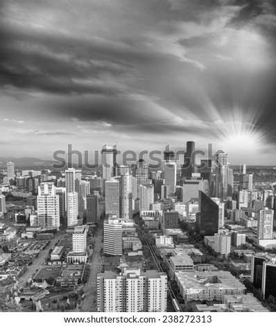 Seattle, Washington. Beautiful aerial view at dusk. - stock photo