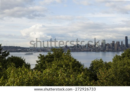 Seattle, Washington City Downtown Waterfront Viewpoint from West Seattle - stock photo