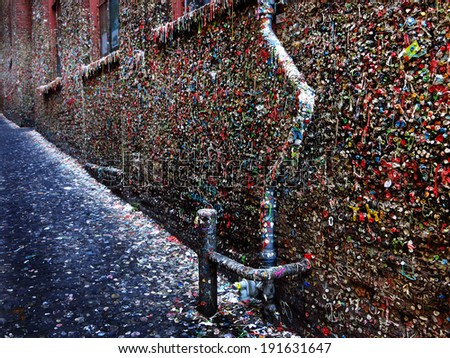 Seattle Washington famous gum wall sticky gooey by Pike's Place Market - stock photo