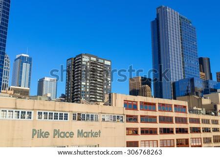 Seattle, Washington, USA - March 1, 2015_Pike Place Market in Seattle, Washington, USA - stock photo