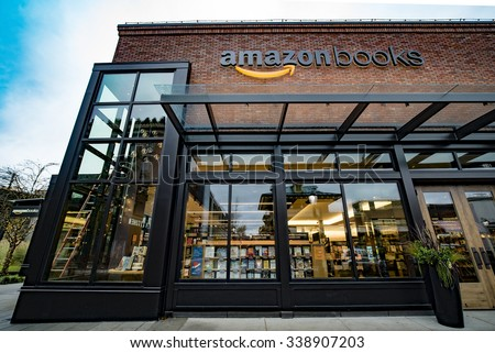 SEATTLE, WASHINGTON/USA - NOVEMBER 2015: Amazon opens its first real life brick and mortar bookstore called Amazon Books in Seattle's University Village - stock photo
