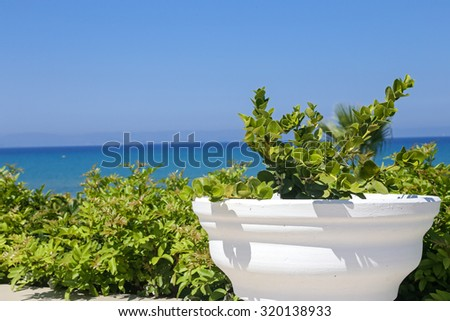 Seaview from the terrace of a hotel in Greece - stock photo