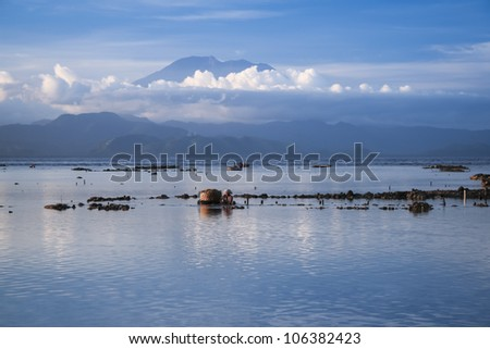seaweed farmers collecting seaweed grown off the shore of nusa lembongan island opposite gunung agung volcano in bali indonesia - stock photo