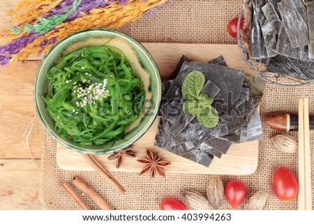 Seaweed salad is delicious and dries seaweed - stock photo