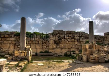 Sebastia ancient israel excavation on palestinian territory - stock photo