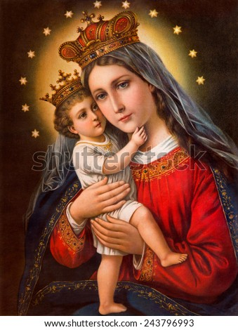 SEBECHLEBY, SLOVAKIA - JANUARY 2, 2015:  Typical catholic image of Madonna with the child (in my own home) printed in Germany from the end of 19. cent. originally by unknown painter. - stock photo